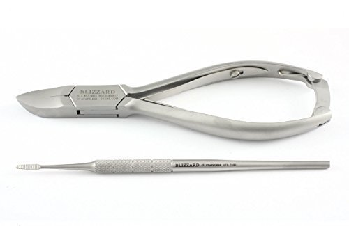 Blizzard Podiatry Instrument 2-Pcs Set – Professional Chiropody Toe Nail Clipper Nipper Blacks File Kit – GERMAN Stainless CE Approved Pedicure Foot Care Tools – With FREE Nail Dresser GIFT