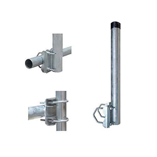 SkyRevolt 40cm Ø 48mm Mast-Verlängerung Geländer-Halter mit 2 Schellen Balkon-Halterung für Sat-Schüssel Antenne Montage Stahl verzinkt