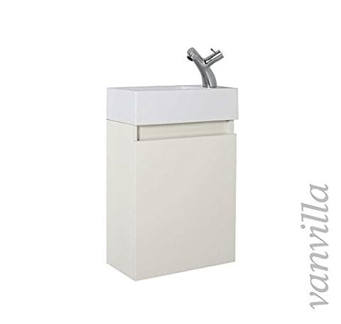 vanvilla Gäste-WC Badmöbel Set Waschplatz Mineralgussbecken Waschbecken mit Unterschrank beige