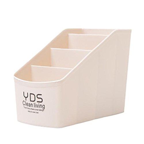 erthome Kunststoff Organizer Aufbewahrungsbox für Krawatte BH Socken Schublade Kosmetik Schreibwaren | Desktop Speicher Tool (Beige)