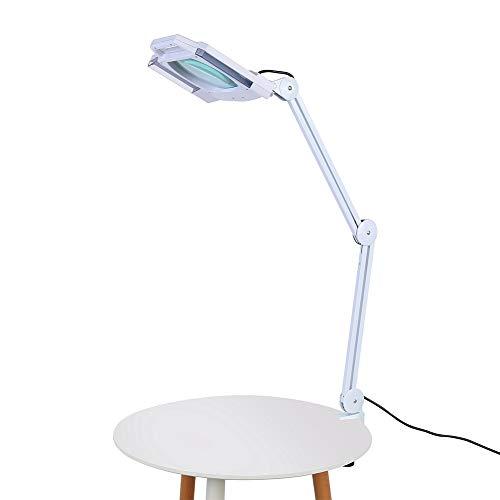 Lámpara de Mesa con Lupa, 5X Lupa 14W Lente LED Grande Plegable Lámpara Luz para Belleza, Tatuaje, Blanco (con Abrazadera)