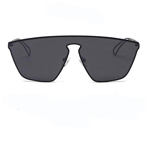 HDaiy Sonnenbrillen Männer Und Frauen Fahren Spiegel Persönlichkeit Einteiliges Objektiv Big Box Fashion,Black Frame Grey Piece