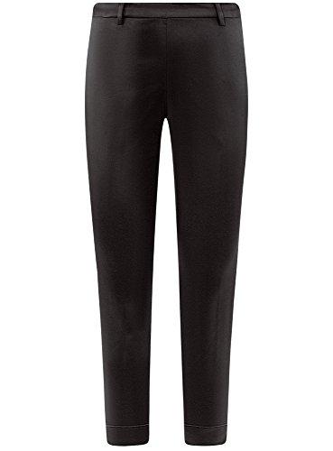 oodji Collection Damen Enge Hose mit Reißverschluss an der Seite Schwarz (2900N)