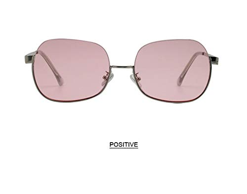 WSKPE Sonnenbrille,Anti Blaues Licht Brillengestell Hälfte Frame Sonnenbrille Frauen Männer Klar Sonnenbrille Uv400 Silber Rahmen Rosa Linse