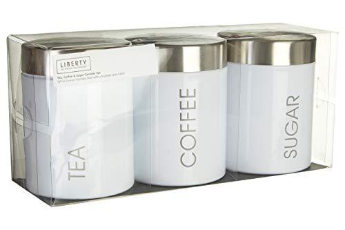 Premier Housewares 0510008 Set Barattoli per Tè, Caffè e Zucchero, Coperchio in Acciaio Inox, Azzurro