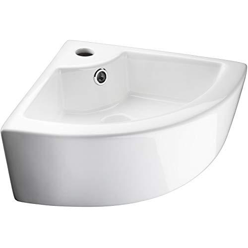 TecTake 800444 Lavabo à poser en céramique vasque rectangulaire salle de bain d'Angle - diverses modèles (Type 2 Lavabo d'Angle | no. 402570)