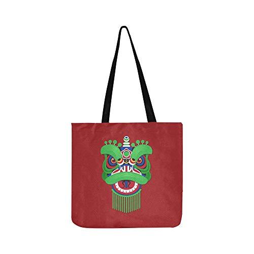 Chinesisches Neujahr Lion Dance Kopf Leinwand Tote Handtasche Umhängetasche Crossbody Taschen Geldbörsen Für Männer Und Frauen Einkaufstasche