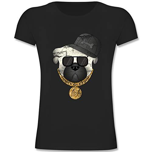 Tiermotive Kind - Bad Boy Mops Vintage - 104 (3-4 Jahre) - Schwarz - F131K - Mädchen Kinder T-Shirt