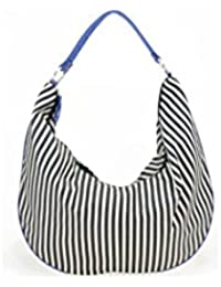 Sac Maxi Besace Paquetage Rayures Bleues Toile BD-057