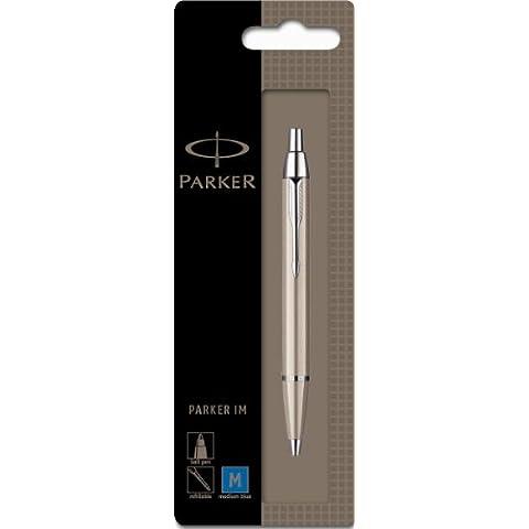 Parker IM - Bolígrafo de punta de bola (metal cepillado, adornos en cromo)