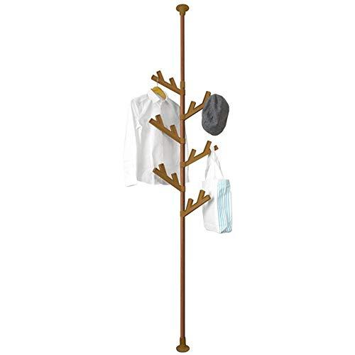 LM-Coat rack Garderobenständer Standgarderobe, Baum hängende Stange Boden bis zur Decke, einstellbar Spannungsstange Garderobe, Schlafzimmer Wohnzimmer,Brown (Boden-decken-stange)