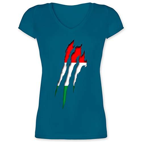 Länder - Ungarn Krallenspuren - XXL - Türkis - XO1525 - Damen T-Shirt mit V-Ausschnitt