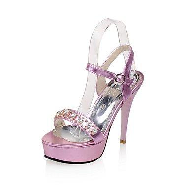 LvYuan Da donna-Sandali-Matrimonio Formale Serata e festa-Comoda Cinturino alla caviglia Club Shoes-A stiletto-PU (Poliuretano)-Rosa Argento Silver