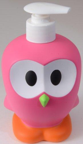 Ooky - Dispenser di sapone liquido, motivo gufetto, in plastica rosa