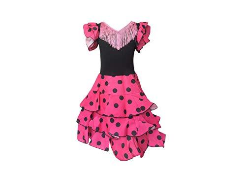 La Senorita Spanische Flamenco Kleid Niño Deluxe / Kostüm - für Mädchen / Kinder - Rosa / Schwarz (Größe 140/146 - Länge 95 cm- 9-10 Jahr)