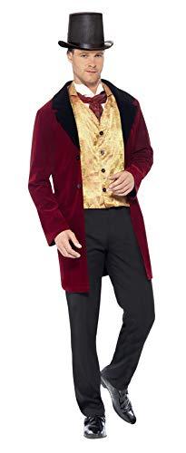Damen Kostüm Edwardian - Smiffy's 43419 - Edwardian Gent Deluxe Kostüm mit Jacke Mock Weste und Krawatte, rot, M