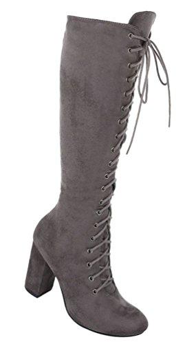 Damen Stiefel Schuhe Schnürer Schwarz Grau Hellbraun 36 37 38 39 40 41 Grau