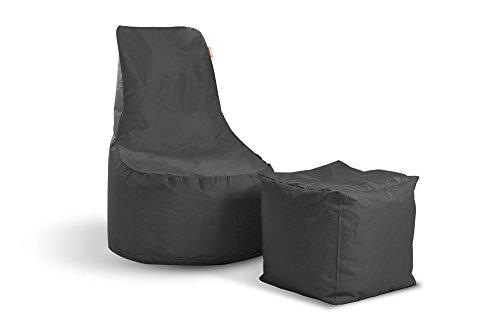 Sitzsack Set Mia Swing + Cube Hocker Anthrazit