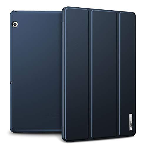 Infiland Huawei MediaPad T5 10 Hülle Case, Slim Ultraleicht PC Shell Schutzhülle Cover für Huawei MediaPad T5 10 10.1 Zoll 2018 Tablet PC,Dunkleblau