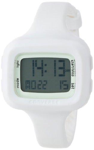 Converse Understatement – Reloj digital de mujer de cuarzo con correa de silicona blanca (alarma, cronómetro) – sumergible a 30 metros