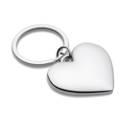 Price comparison product image eBuyGB Chrome Love Heart Keyring,  6 cm,  Silver