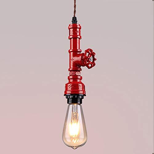 Mmhot-dd Multicolor Vintage Industrial Pipe Leuchte, Bauernhausstil Metall Pendelleuchten, im Alter von rustikalen Bronze Hängelampe, für Home Küche Bad Deckenventilator Beleuchtung (Farbe : Red) - Im Alter Von Bronze Farbe