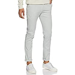 Arrow Sports Men's Slim Fit Casual Trousers (ASWTR5069_Lt. Grey_32.0)