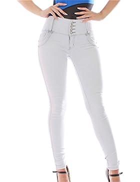 FARINA®1637 Pantalon Vaquero de Mujer, Push up/Levanta Cola, Pantalones Elasticos Colombian,Color Gris Claro,Talla...