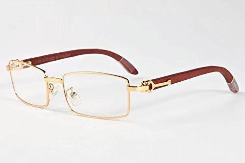 LKVNHP Neue Hochwertige Holz Sonnenbrille Männer Markendesigner Sonnenbrille Für Mann Berühmte Name Sonnenbrille Holz Tempel Anti ReflektierendeGold Kaffee