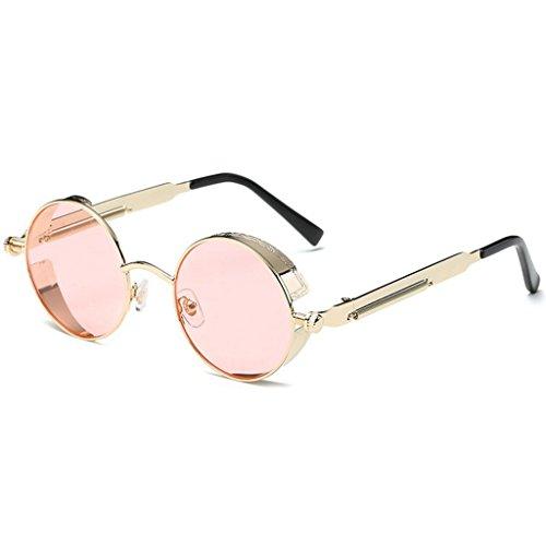 GAOLIXIA Ms. Reflektierende Sonnenbrille Retro Steampunk Style inspiriert Runde Metall Kreis polarisierte Sonnenbrille für Männer (Farbe : Rosa, Größe : One size)