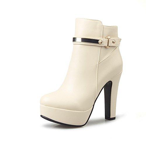AgooLar Damen Reißverschluss Hoher Absatz Niedrig-Spitze Stiefel, Cremefarben, 35