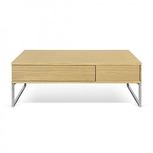 Paris Prix - Temahome - Table Basse Lyra 115cm Chêne & Argent