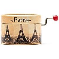Boîte à musique à manivelle avec décors de la Tour Eiffel Paris et la mélodie * La valse d'Amélie *.