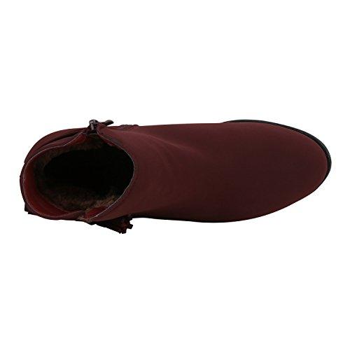 Stiefelparadies Modische Damen Stiefeletten Chelsea Boots Prints Schuhe Bequem Übergrößen Gr. 36-42 Zipper Wildleder-Optik Flandell Dunkelrot Quasten