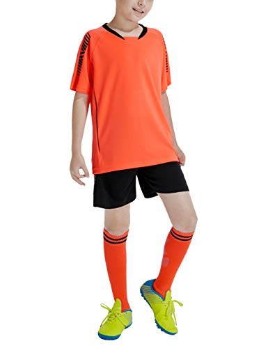 besbomig Jungen Fussball Trikots Set Kind Team Training Wettbewerb Sportbekleidung - Kurze Ärmel T-Shirt & Shorts und Socken Soccer Uniforms - Team-trainings-t-shirts