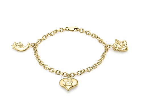 Carissima Gold 9 ct Yellow Gold 3 Charm Angel Belcher Bracelet of 19 cm/7.5 inch