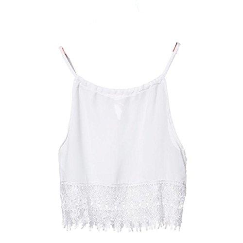 Vovotrade Frauen-Spitze Tops Kurzarm Bluse Tank Tops T-T-Shirt Weiß
