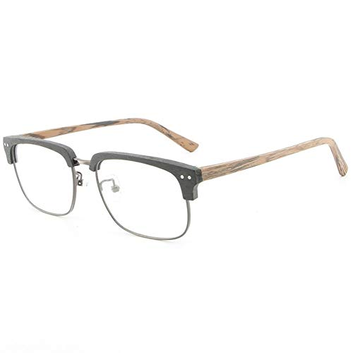 Gläser BrillengestellI Mitation Wood Half Frame Brillengestell Vintage Hand Augenbrauenplatte Männer und Frauen Holzmaserung Flat Glasses Frame (Color : Black Frame Brown Legs)