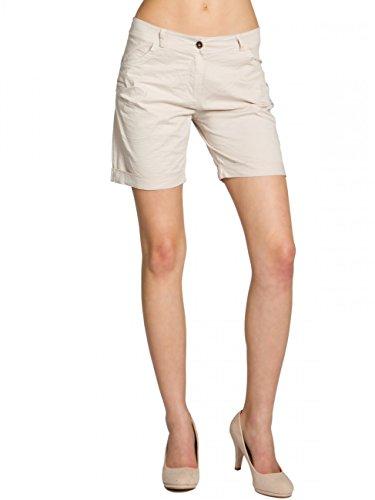 CASPAR BST006 Damen Baumwoll Sommer Shorts kurze Hosen, Farbe:beige;Größe:40 L UK12 US10 (Groß 40 Liter Natürliche)