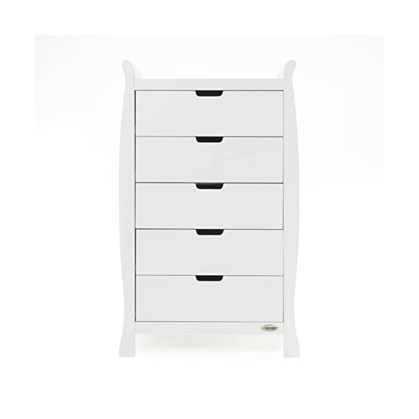 Obaby Stamford Sleigh Tall Chest of Drawers - White Obaby 5 drawers provide much needed storage space Smooth gliding runners provide easy opening and closing Co-ordinates with the rest of the obaby stamford furniture range 1