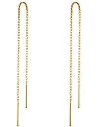 RUBOBUC 14 k Pendientes de Oro para Mujer Pendientes Colgantes Hilo de Rosca Pendientes Colgantes Minimalismo Pendiente de Cadena Larga sumergido