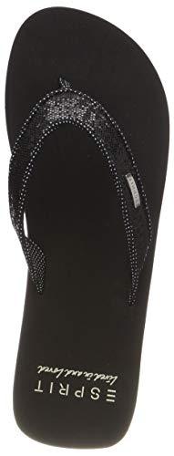 ESPRIT Damen Glitter Thongs Pantoletten, Schwarz (Black 001), 39 EU -