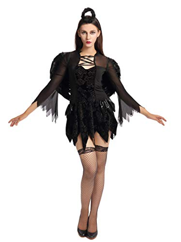 Liangzhu Female Carnival Cosplay Angel Costumes with Wings Headband Dress and Net Stocking for Movie Theme Party Stage Performance 2Pcs(Black,Asia 3XL)