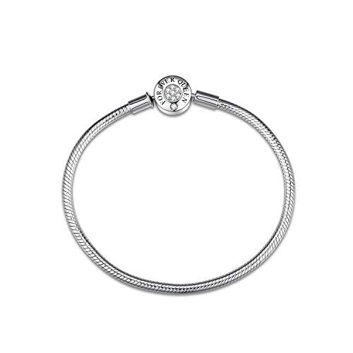 FOREVER QUEEN Charm Armbänder 925 Sterling Silber Schlangenkette Armband Basic für Teen Girls Frauen Geburtstag, Weihnachten FQ00016