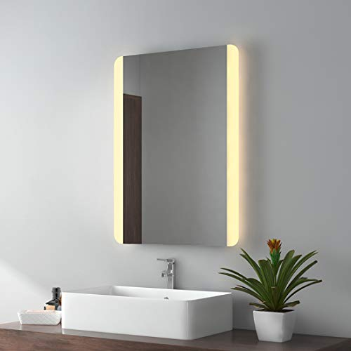 LED Espejo baño Espejo con iluminación warmweissen Luz Espejo Espejo de Pared, Stil C, 80x60cm mit Touchschalter