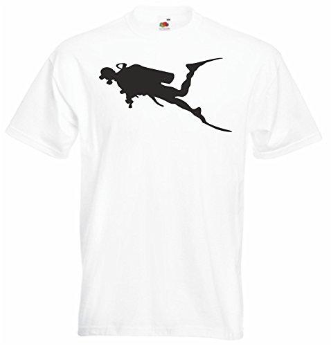 Black Dragon - T-Shirt Herren - JDM / Die cut - Taucher Silhouette Weiß