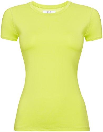 FIND Shirt Sportiva con Inserto in Mesh Donna Verde (Citrine)