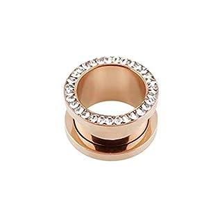 eeddoo® Rosegold Steel - Flesh Tunnel - Kristall - Epoxy - 5 mm (Piercing Tunnel Ohr Plug für gedehnte Ohren Lobes Tubes)