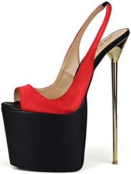 Sandalias para Mujer Plataforma Peep-Toe Zapatos de Tacón Alto Bomba Sola Zapatos Tamaño 40-50 (Color : Rojo,...