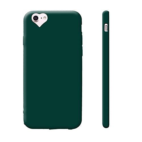 iProtect Silikon Schutzhülle Apple iPhone 7, iPhone 8 Soft case gummiert in Schwarz love militärgrün